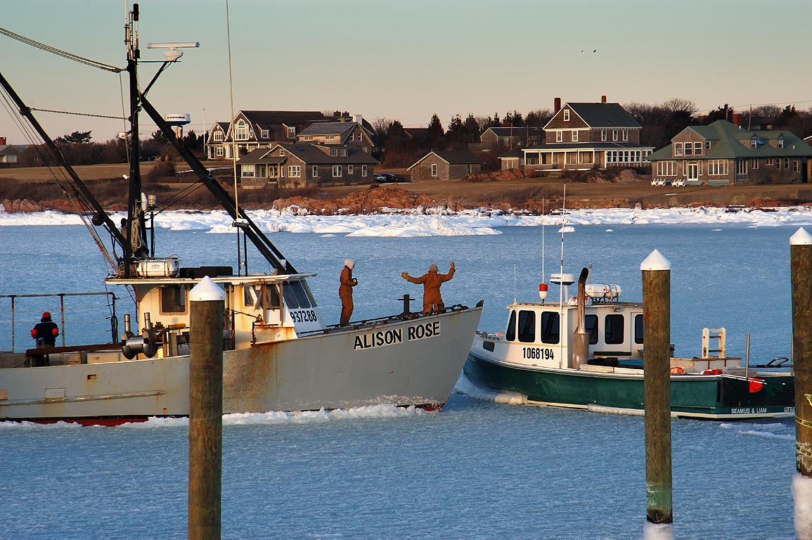 Rescue of a fishing boat from a frozen Sakonnet Harbor. Rhode Island