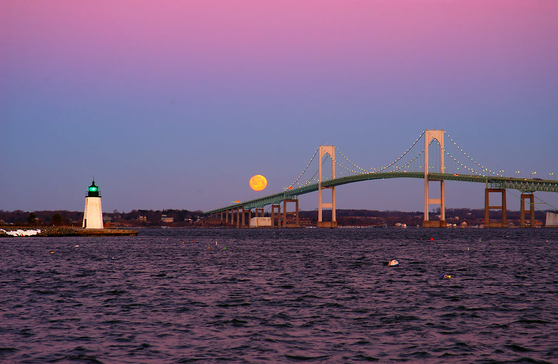 Moonset over Narragansett Bay from Goat Island...Bridge. Newport, Rhode Island 6:43 a.m