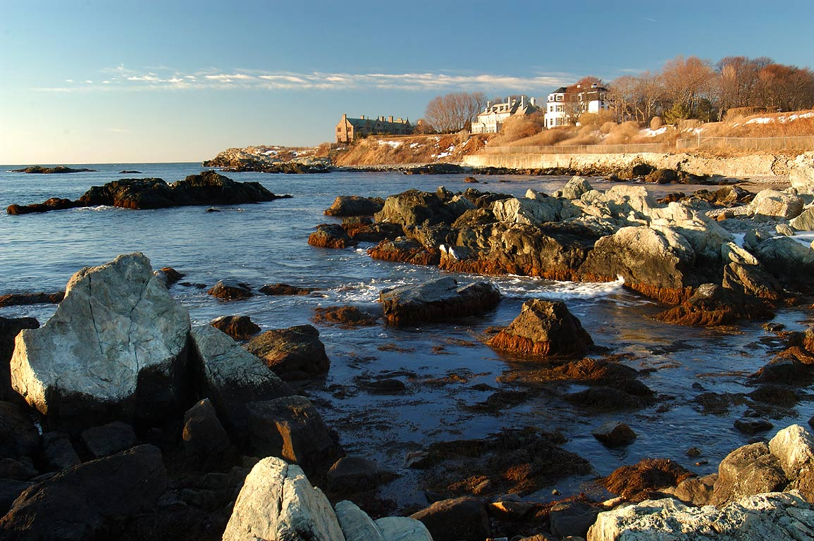 View in direction to Rough Point from Cliff Walk...Rock tunnel. Newport, Rhode Island
