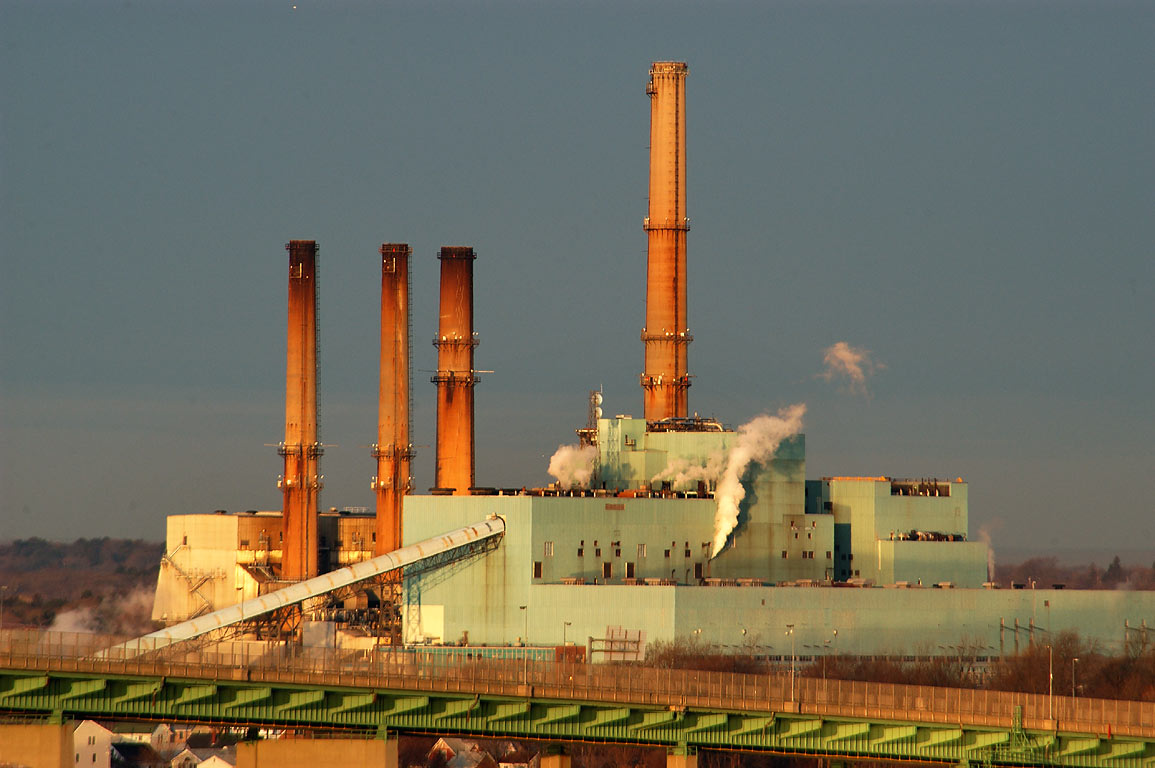 Brayton Point Power Plant (zoomed) from an...at sunrise. Fall River, Massachusetts