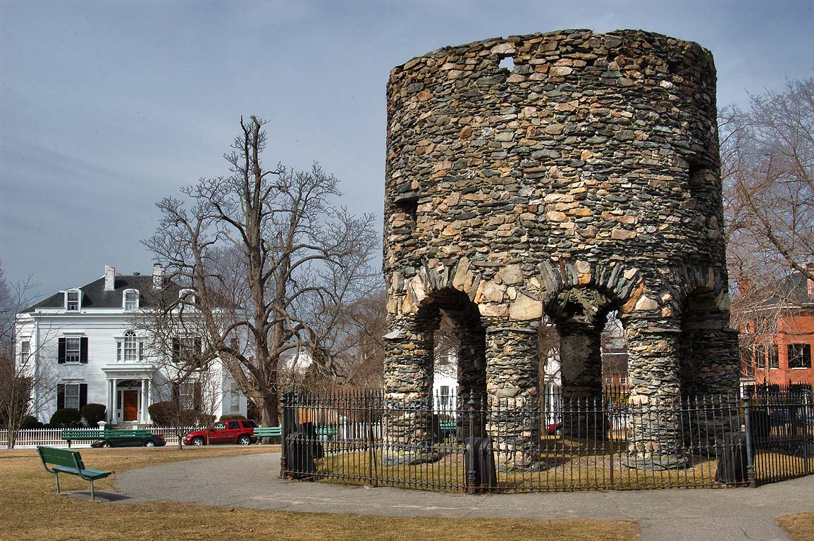 Viking Tower (ruins of a stone mill) in Touro Park. Newport, Rhode Island