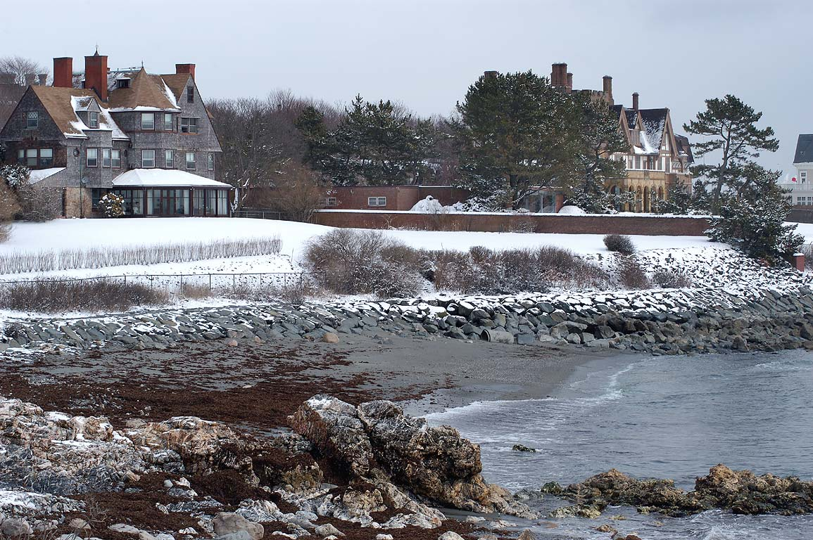 Midcliff and Fairhaven mansions at Ochre Point...Walk trail in Newport. Rhode Island