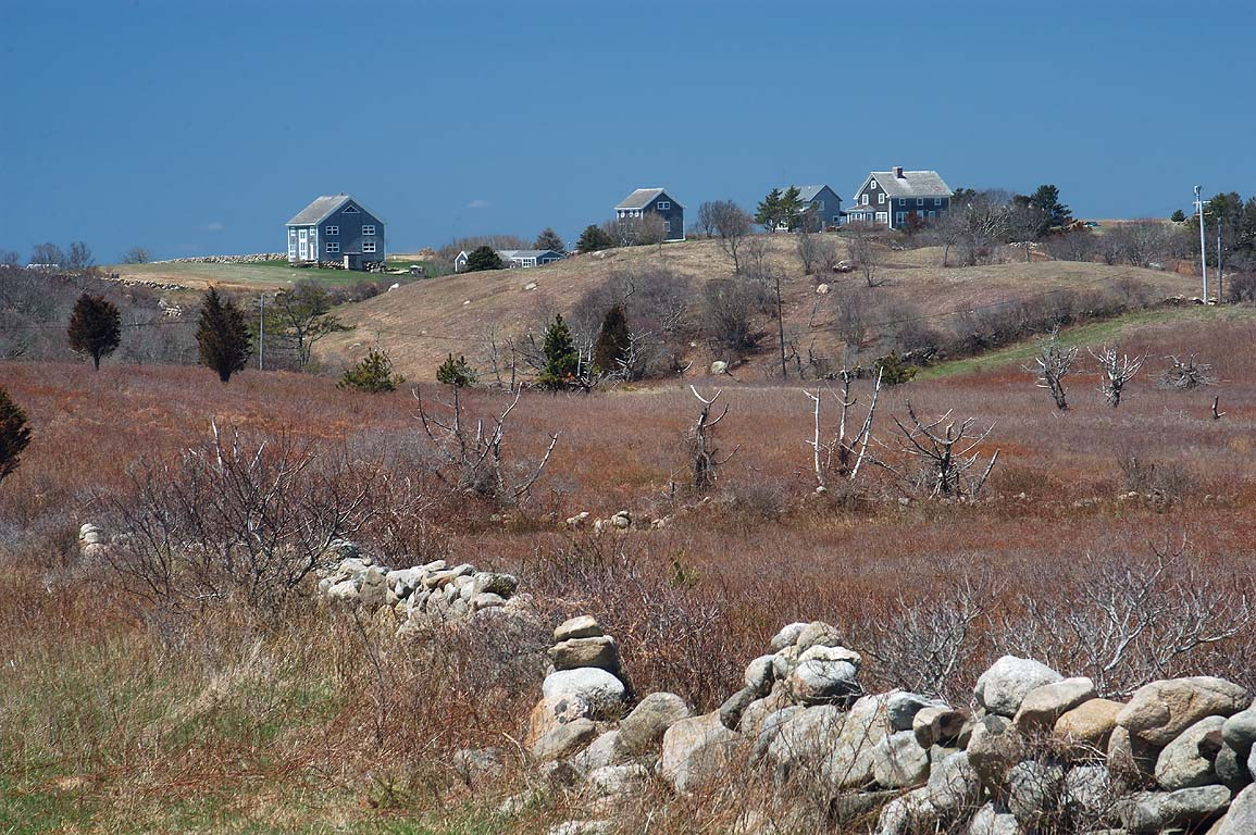 Plover Hill, view from the east, in Block Island. New Shoreham, Rhode Island