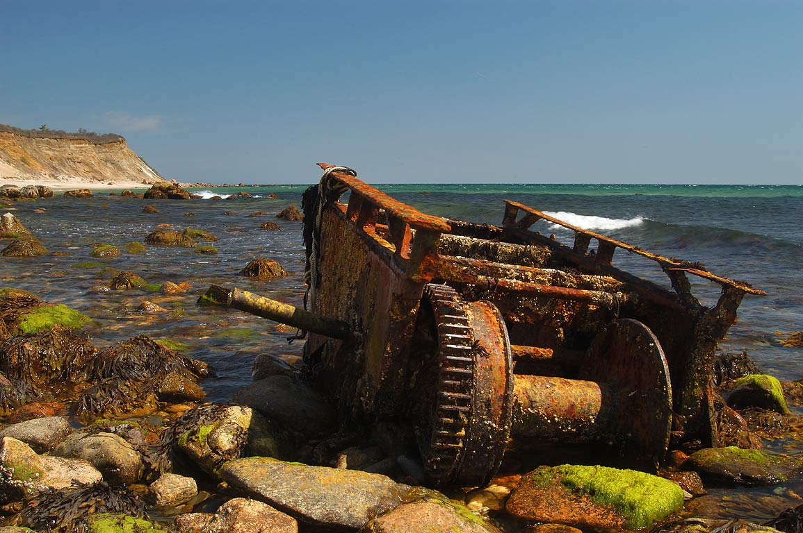 A rusty vehicle on Mansion Beach in Block Island. New Shoreham, Rhode Island