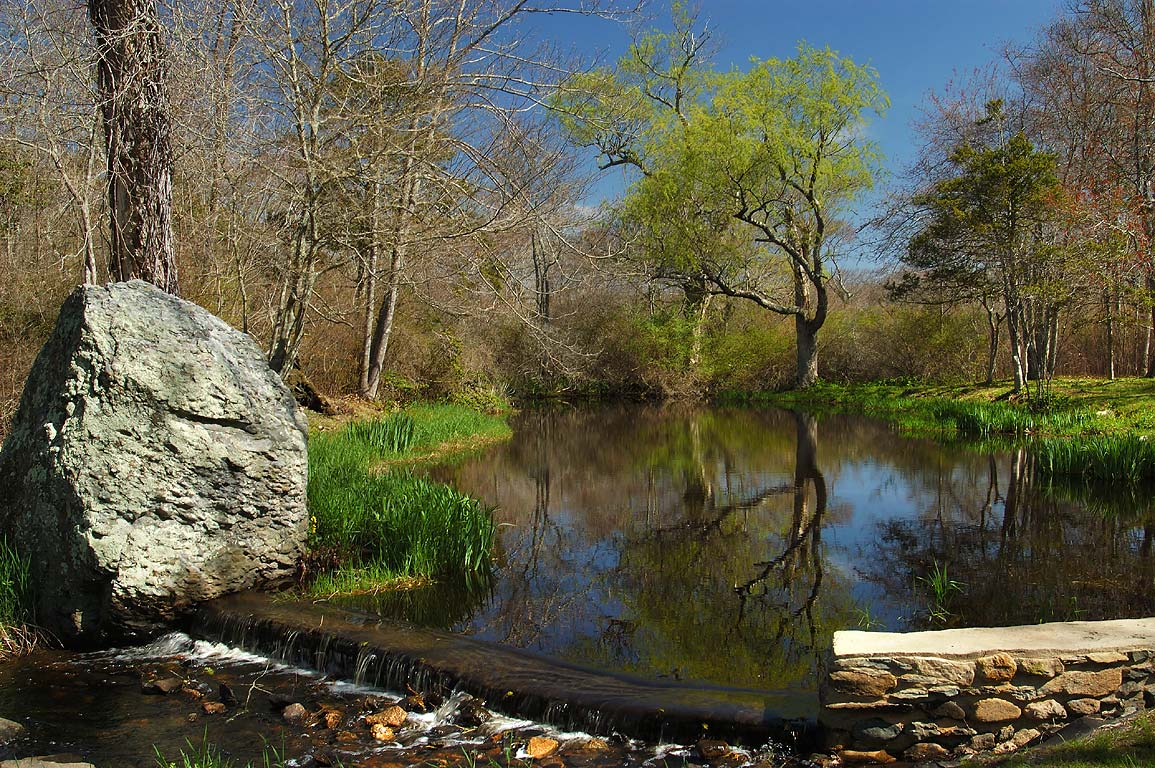 A pond of Dundery Brook in Wilbour Woods park. Little Compton, Rhode Island