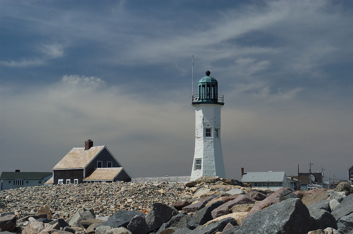 Scituate Lighthouse, view from Breakwaters. Massachusetts