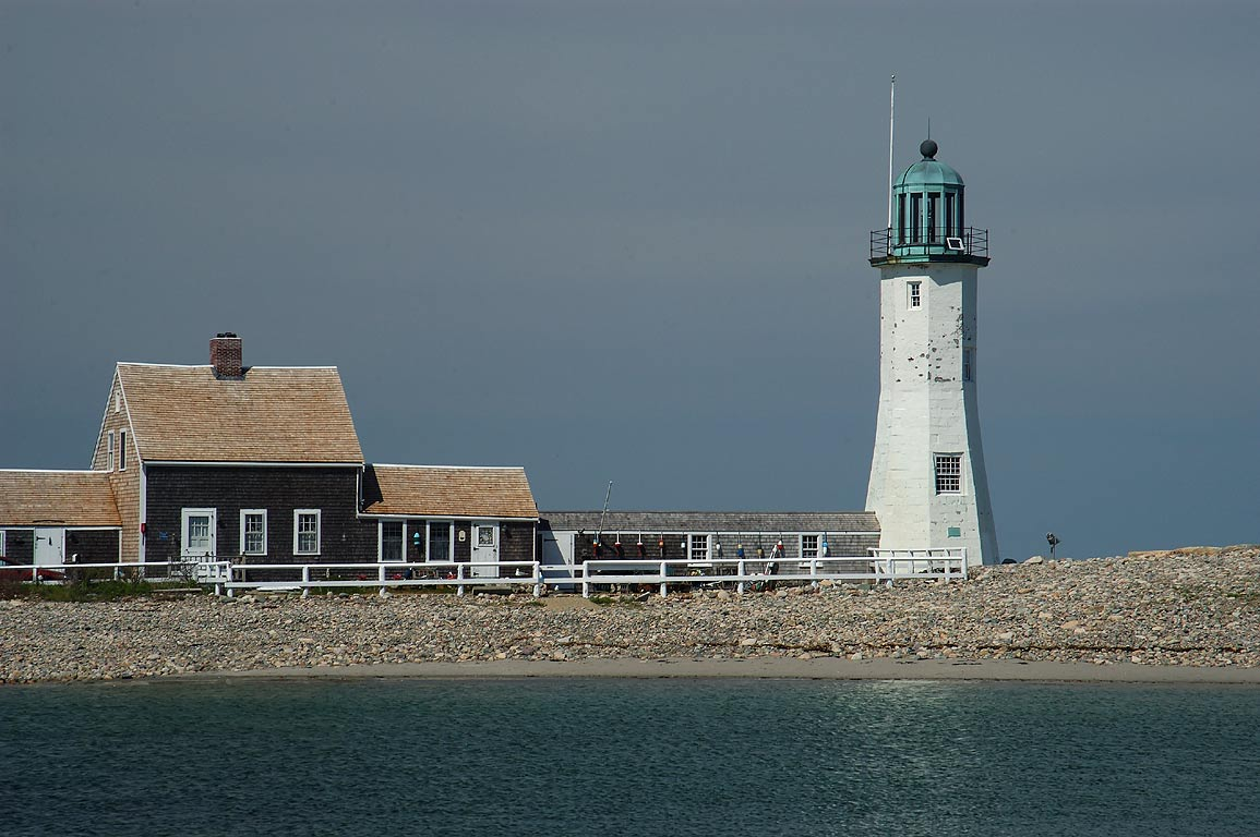 Scituate Lighthouse, view from south-west jetty. Massachusetts
