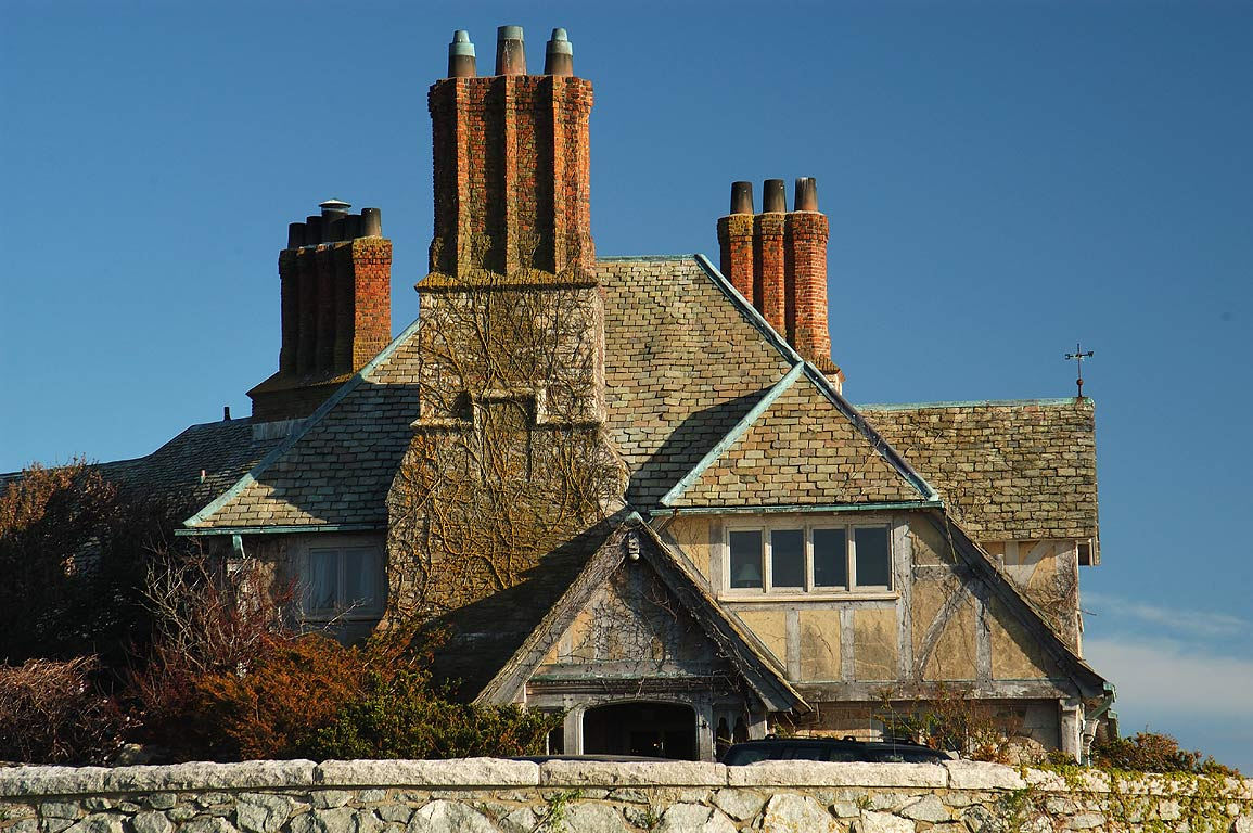 The Waves Mansion, north side, from Cliff Walk trail in Newport. Rhode Island
