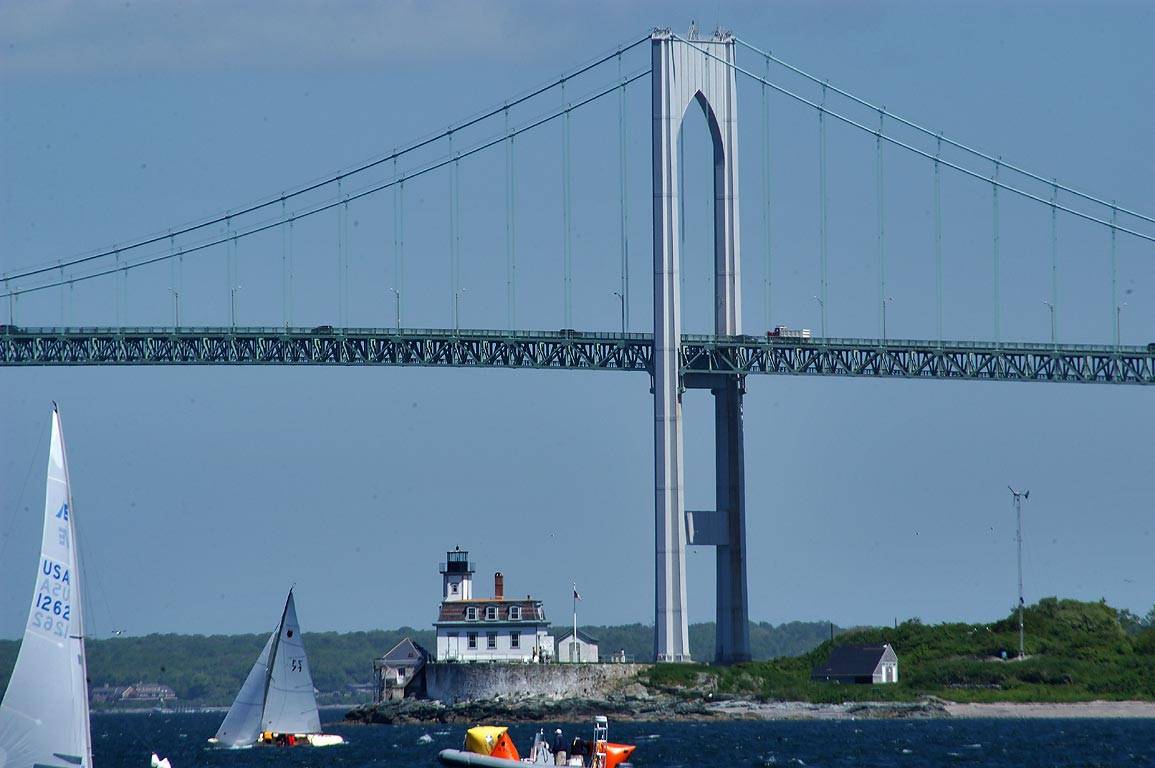 Narragansett Bay, Rose Island and Newport Bridge...State Park. Newport, Rhode Island