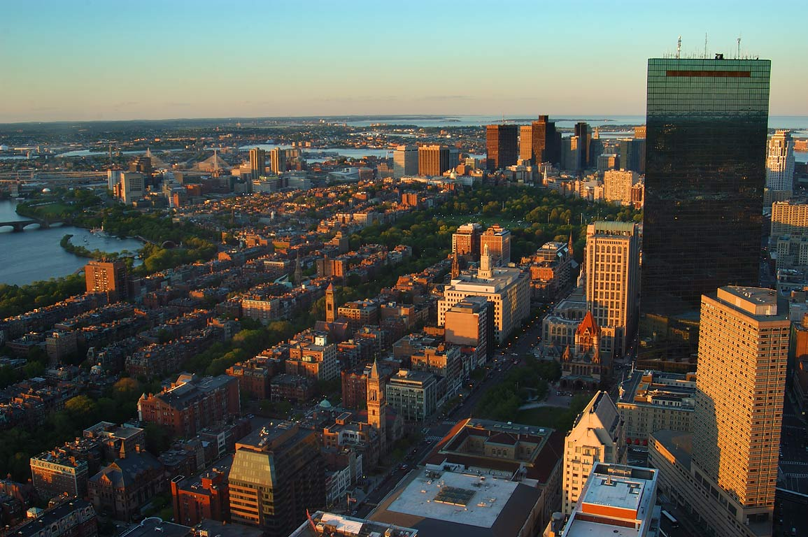 Back Bay and Boston Common, view from Prudential Tower at evening. Boston, Massachusetts