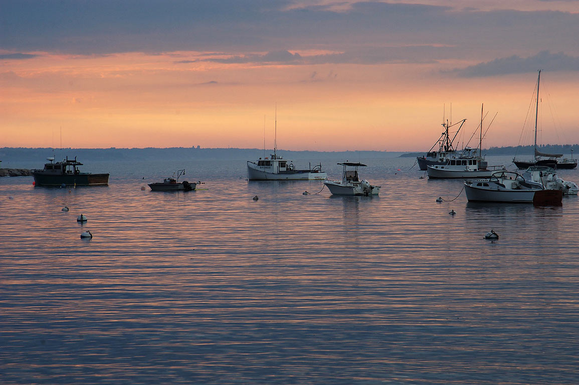 Sakonnet Harbor at evening. Little Compton, Rhode Island
