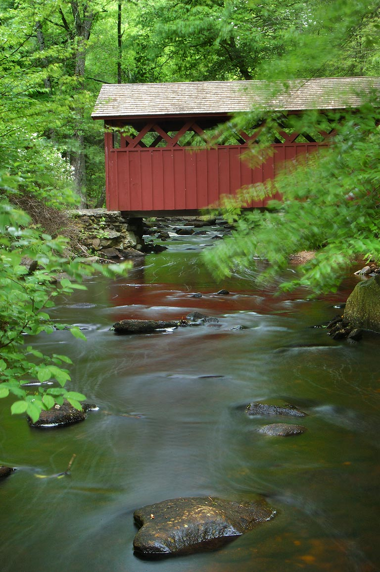 Chatfield Hollow Brook and a covered bridge in...State Park. Killingworth, Connecticut