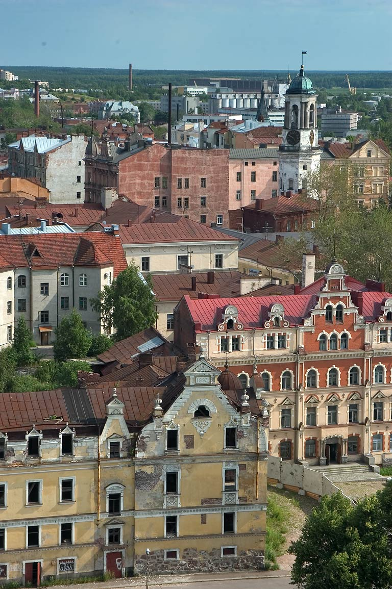 Old city of Vyborg and Clock Tower, view from the castle. Leningrad Region, Russia