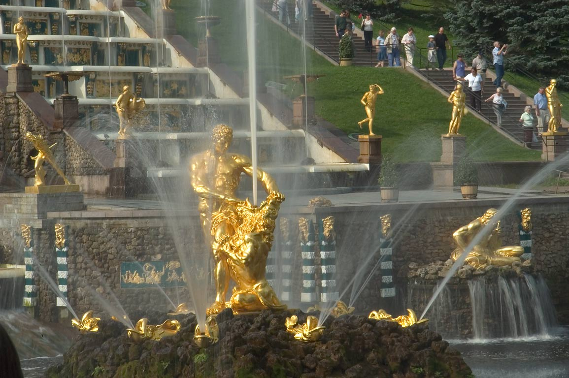 Samson Fountain and Grand Cascade in Peterhof, suburb of St.Petersburg. Russia