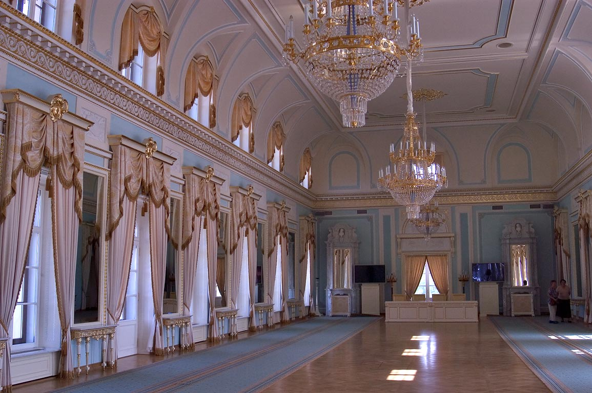 Blue Hall of Konstantinovsky Palace in Strelna. St.Petersburg, Russia
