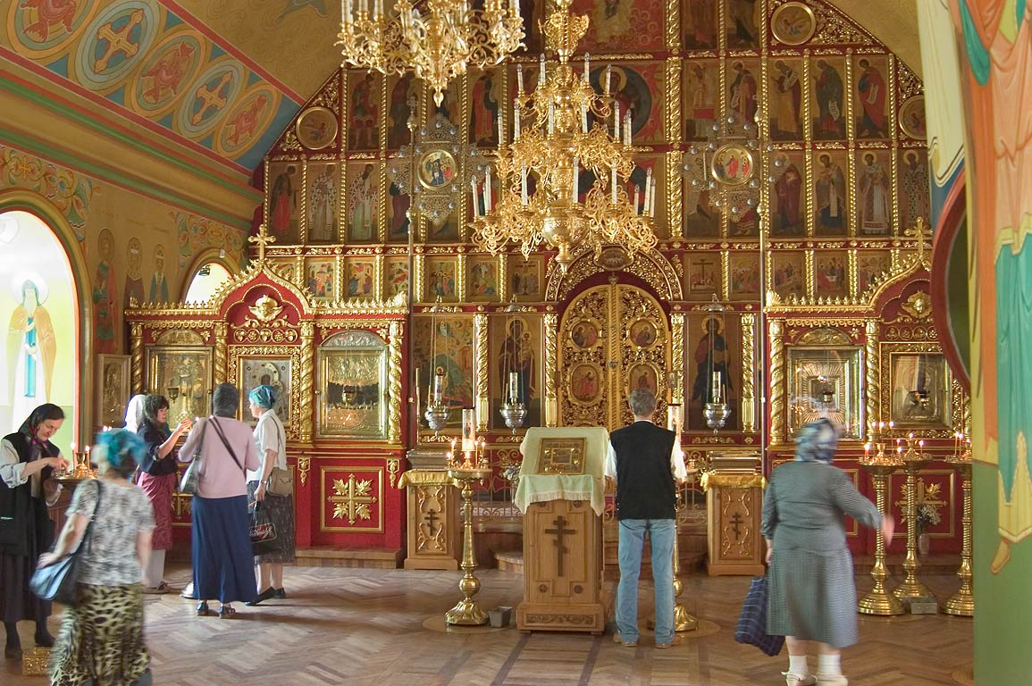 Interior of a church of Pskov-Pechory Monastery. Pechory, Russia