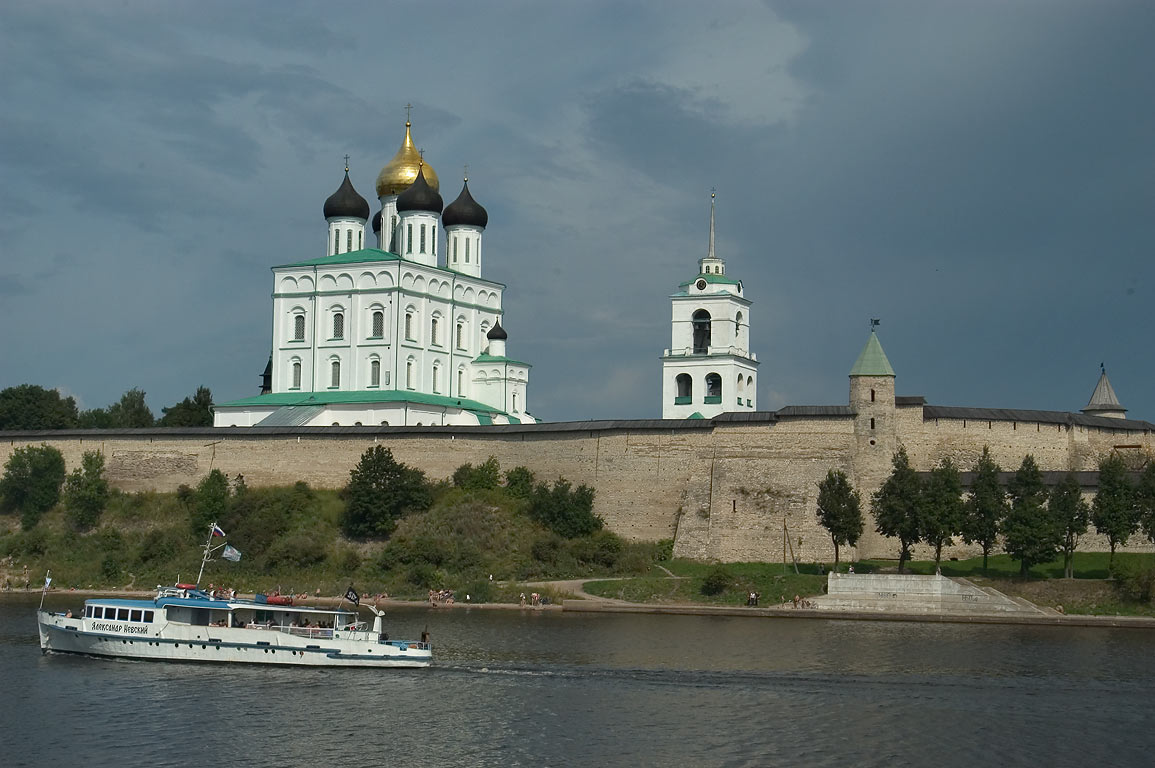 Pskov Kremlin, view from Zavelichye (from other side of Velikaya River). Russia