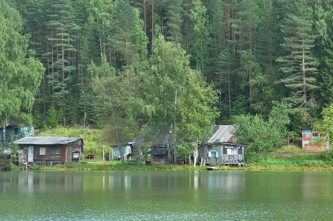 Summer houses on Beloe Lake in Lembolovo, 30 miles north from St.Petersburg. Russia