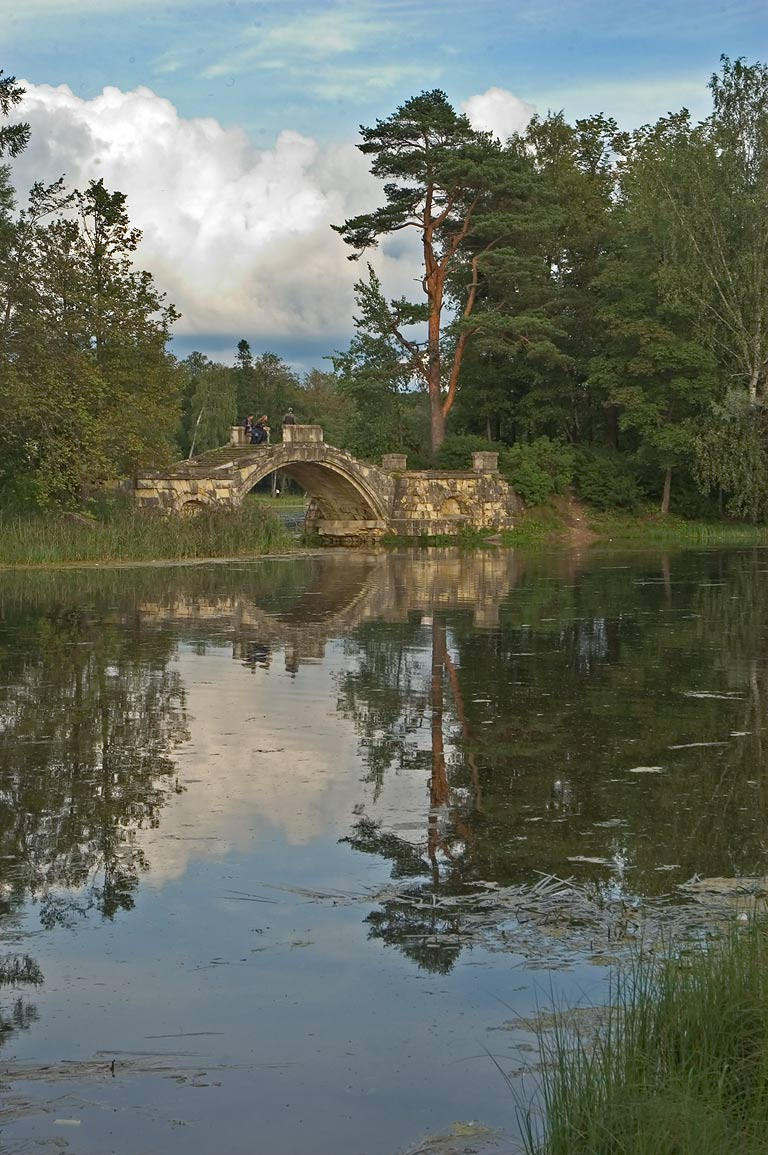 Humpy Bridge in the park of Gatchina, a suburb of St.Petersburg. Russia