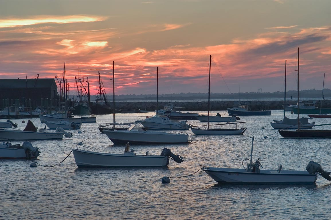 Sakonnet Harbor at evening. Rhode Island