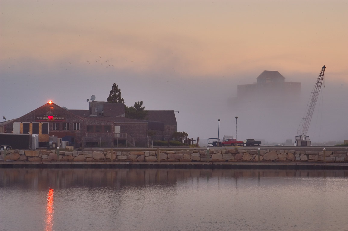 Battleship Cove park, in fog at morning. Fall River, Massachusetts