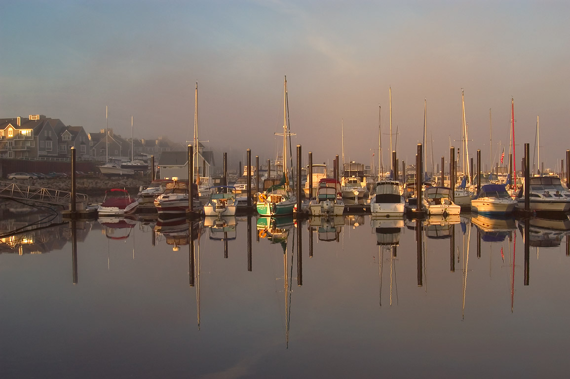 Borden Flat Marina, in fog at morning. Fall River, Massachusetts