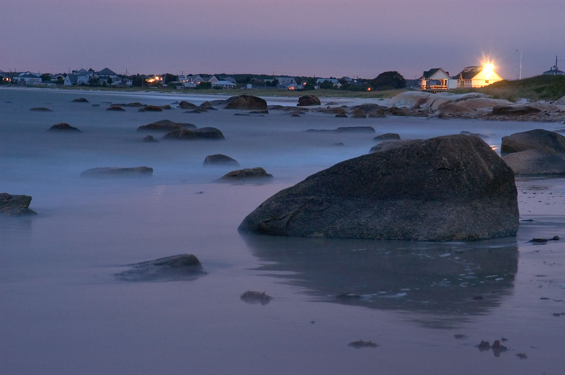 Tidal flat in Acoaxet after sunset. Massachusetts