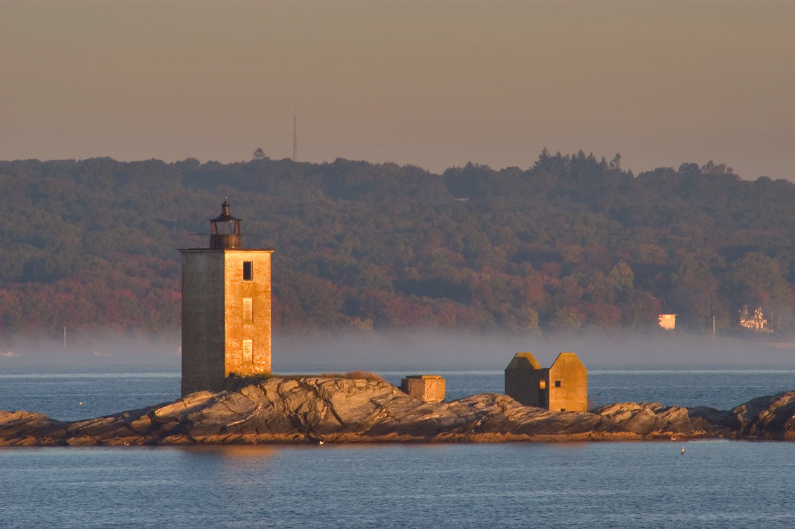 Dutch Island Lighthouse and West passage of...at morning. Jamestown, Rhode Island