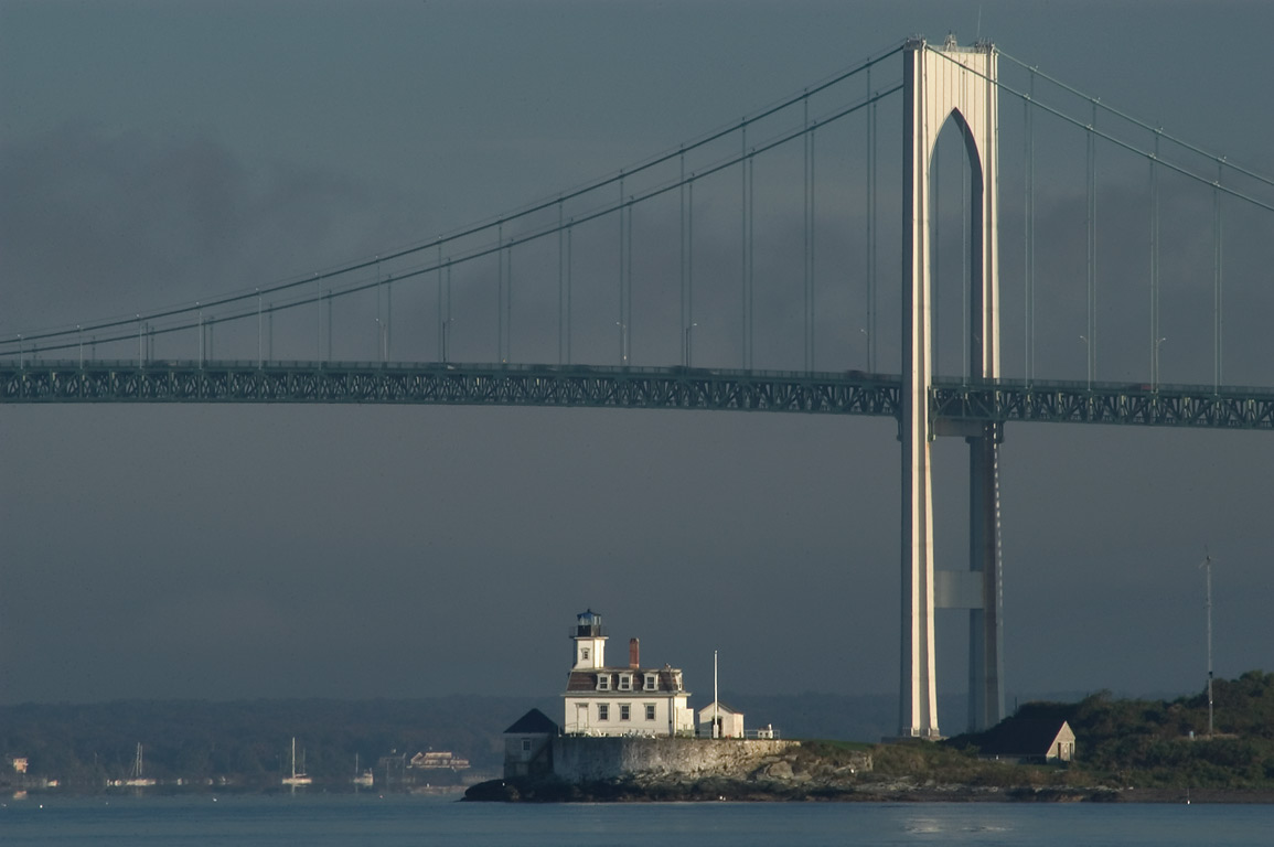 Rose Island and Newport Bridge, view from Fort Adams State Park. Newport, Rhode Island