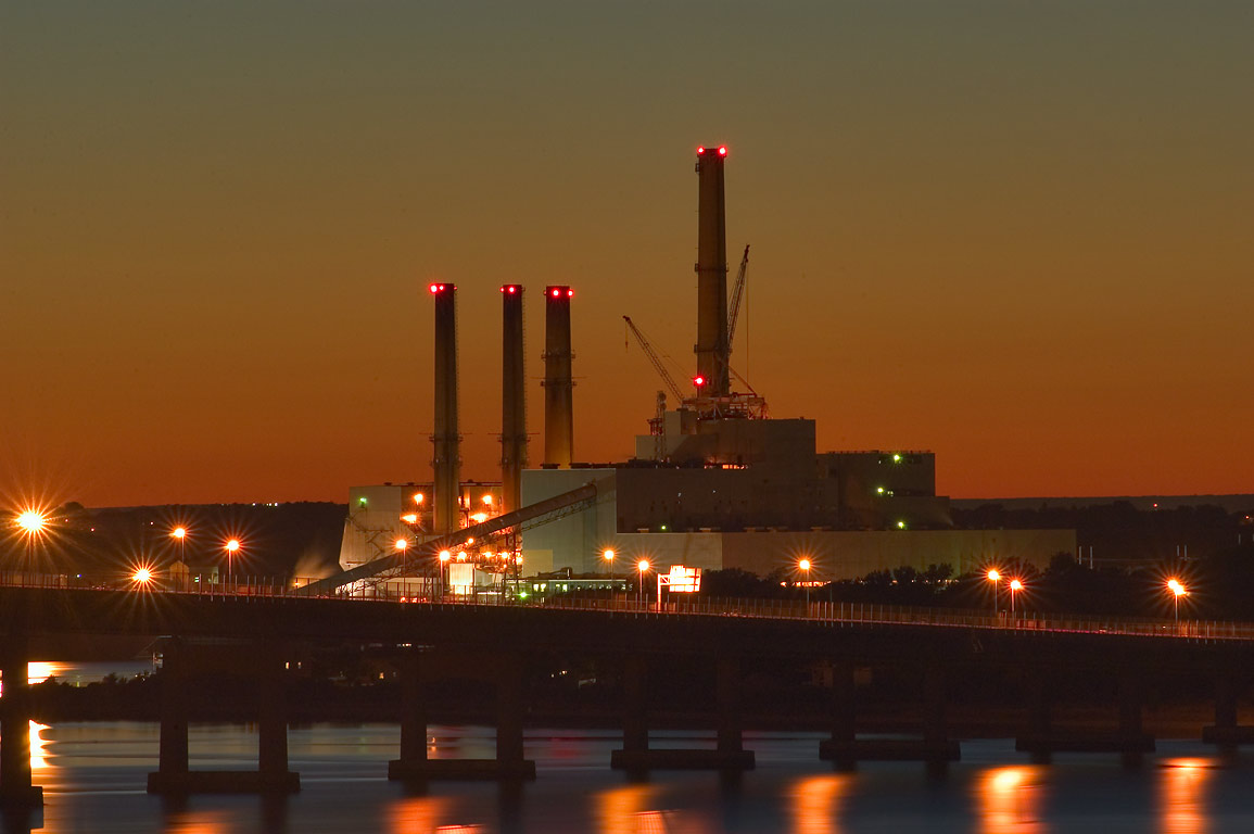 Brayton Point powerplant and Mount Hope Bay from...at evening. Fall River, Massachusetts