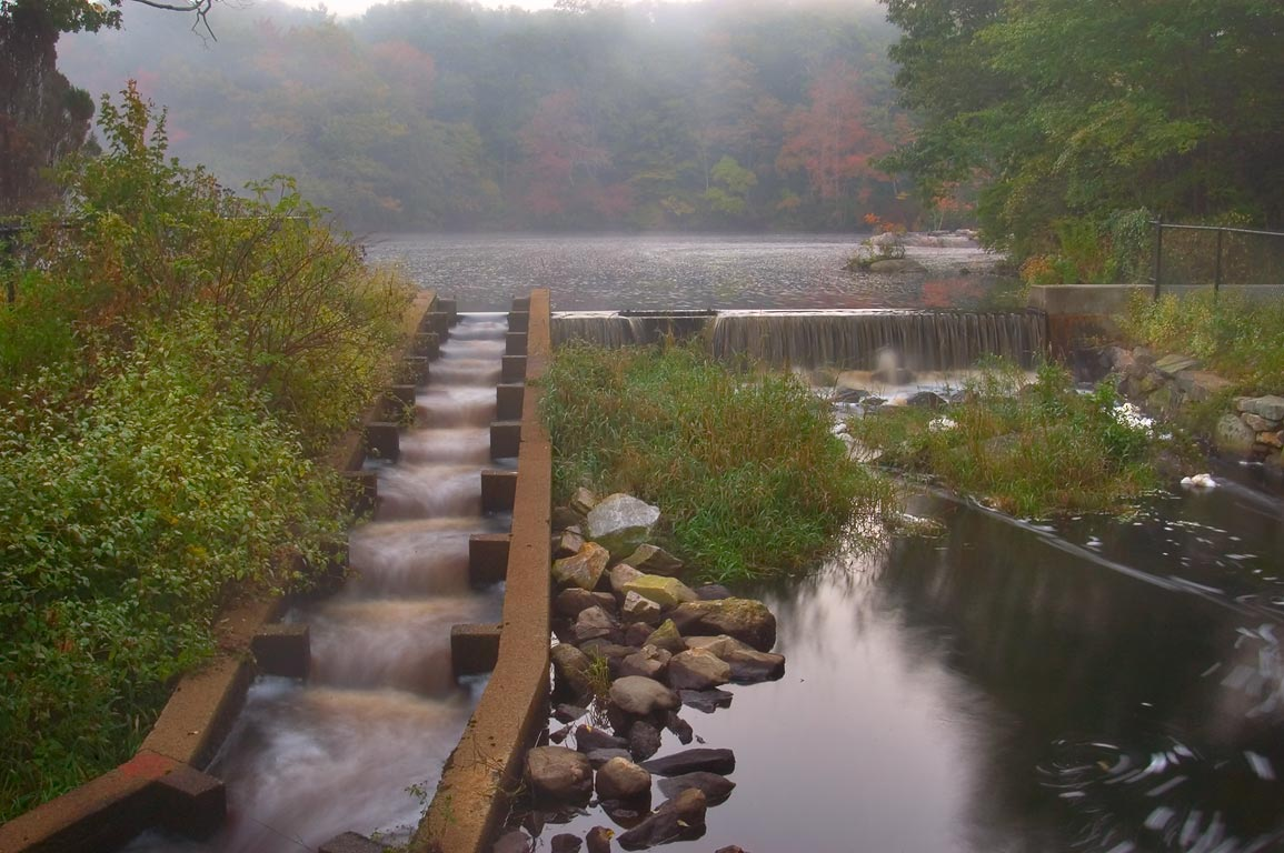 Fish ladder of a dam in Russells Mill village, on...O Dundee Rd.. Dartmouth, Massachusetts