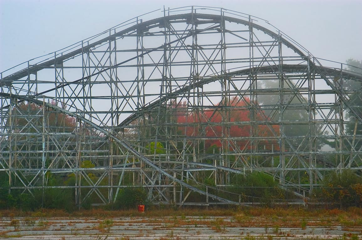 Ruins of Comet roller coaster in mist in Lincoln...Rd.. North Dartmouth, Massachusetts