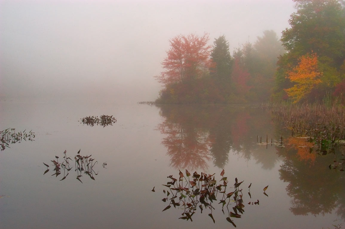Cornell Pond in fog, view from a small park at...Hixville. Dartmouth, Massachusetts
