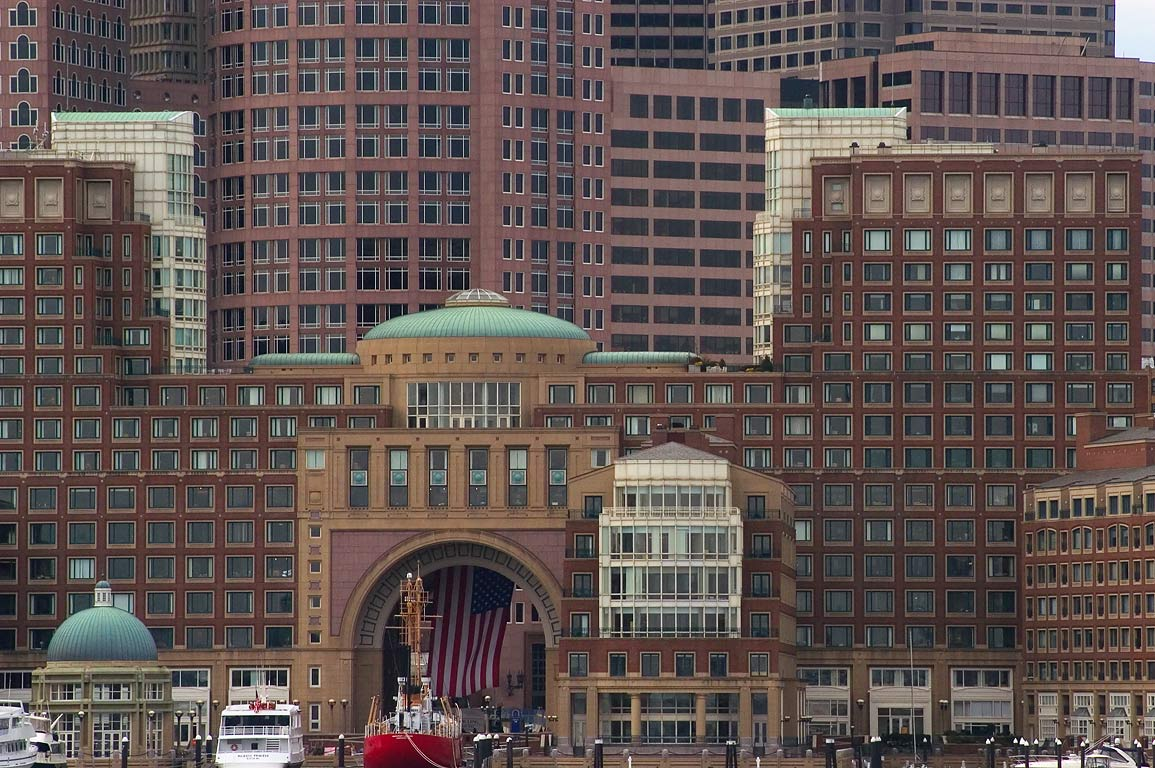 Rowes Wharf and Boston Harbor Hotel, view from a boat. Boston, Massachusetts