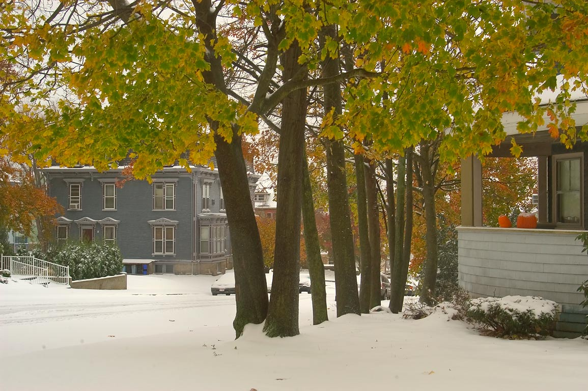 First snow in historic Highlands District. Fall River, Massachusetts