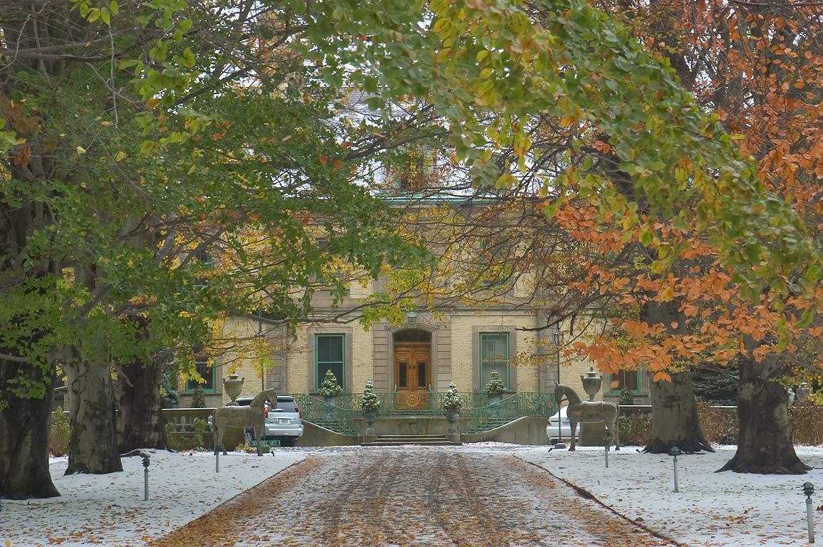 The Orchard Mansion after snowfall. Newport, Rhode Island