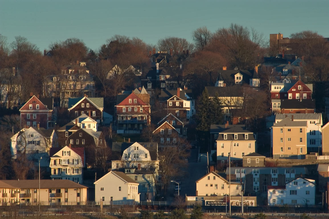 Area of Lincoln Ave. in Fall River, view from a...Brayton Point. Somerset, Massachusetts
