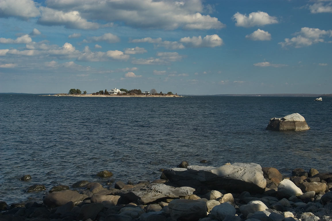 Rome Point and Fox Island in Narragansett Bay. North Kingston, Rhode Island