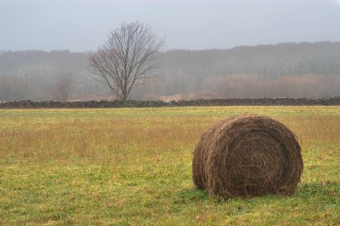 A hay roll, view from Route 77. Little Compton, Rhode Island