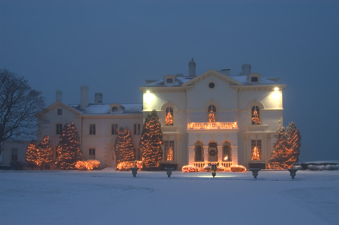 Mrs. Astor's Beechwood Mansion (decorated for...of snowfall. Newport, Rhode Island