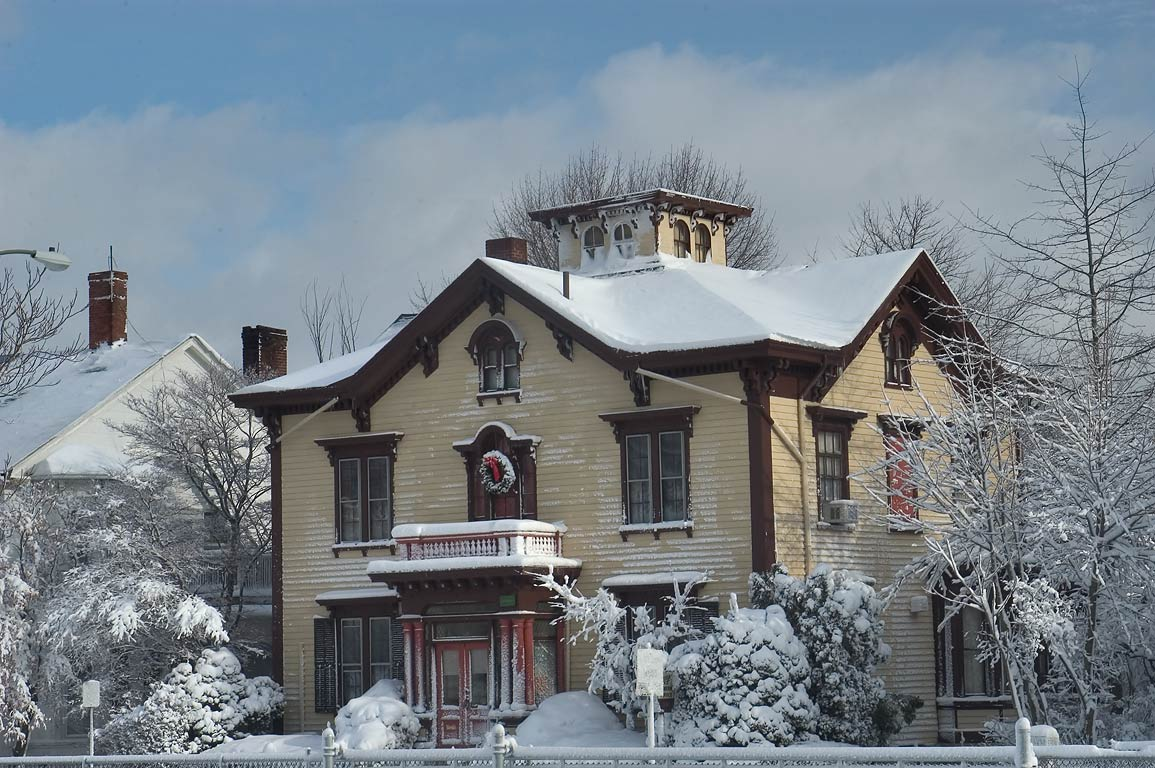 A house on County St. after snowfall. New Bedford, Massachusetts