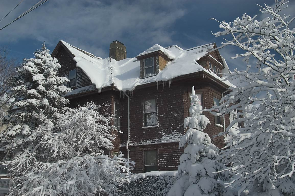 A house at Robeson St. after snowfall. New Bedford, Massachusetts