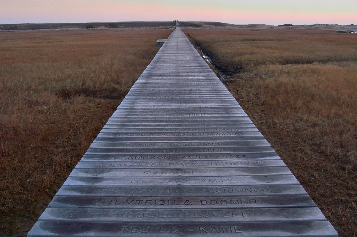 A boardwalk over Sandwich Marshes in Cape Cod. Sandwich, Massachusetts