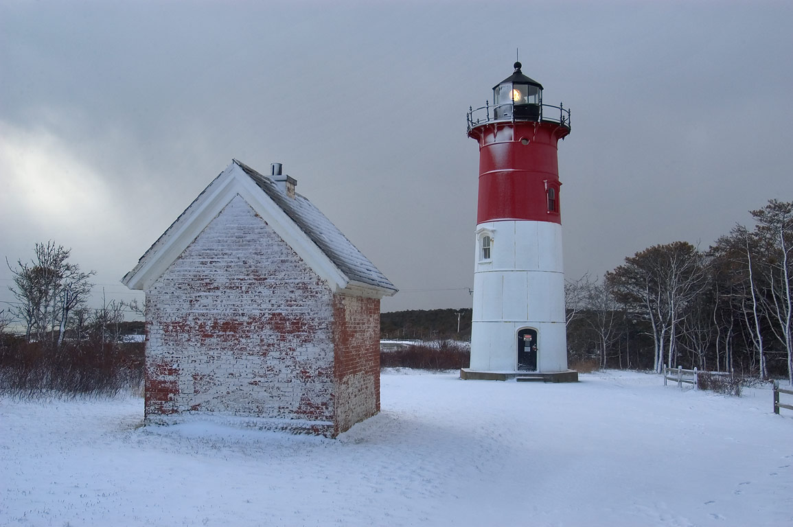 Nauset Lighthouse and an oil house in Cape Cod. North Eastham, Massachusetts