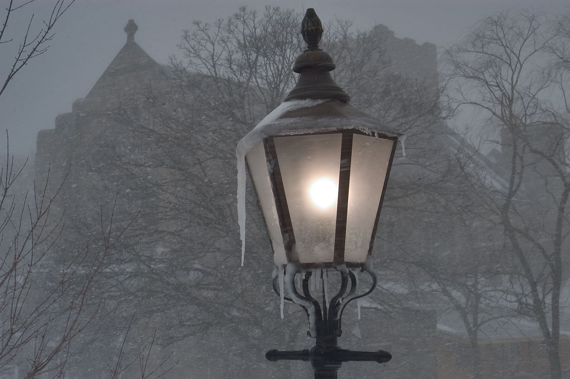 A lamppost of a garden at Fall River Historical...blizzard. Fall River, Massachusetts