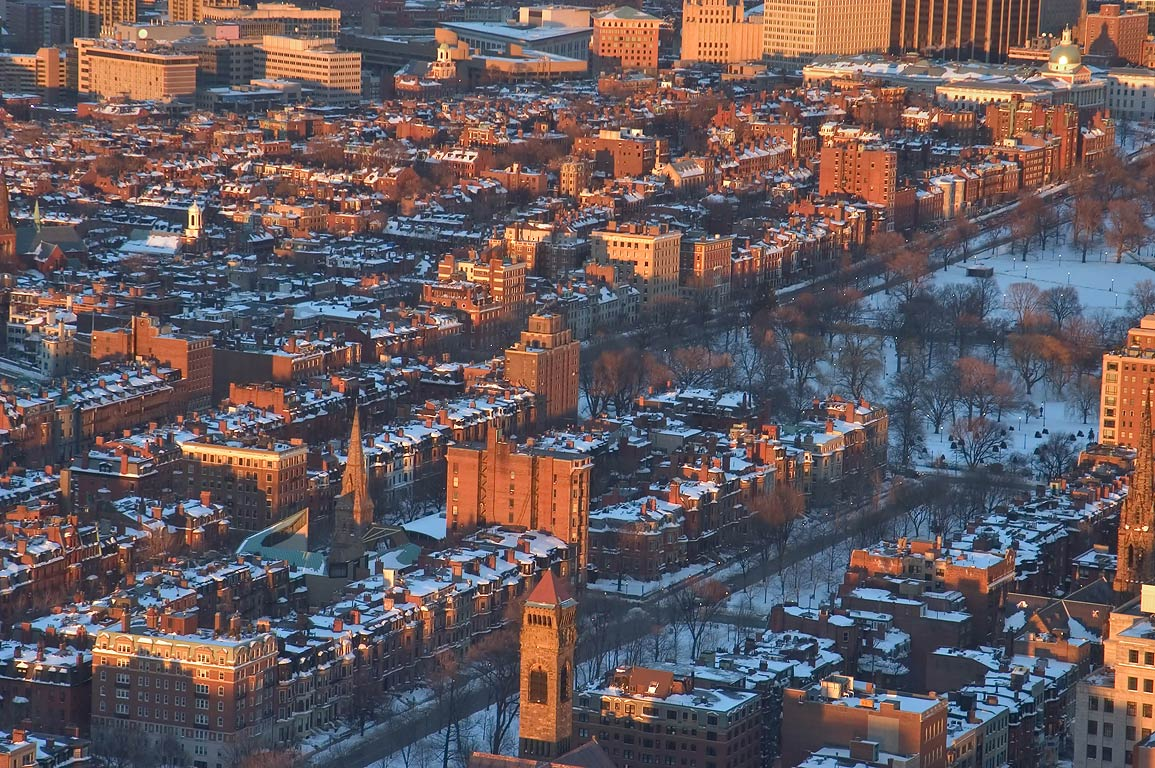 Beacon Hill at sunset, view from Skywalk...Tower. Boston, Massachusetts