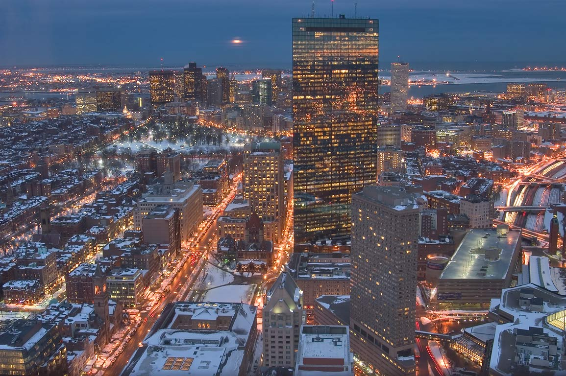 View to north-east from Skywalk observatory of...after sunset. Boston, Massachusetts
