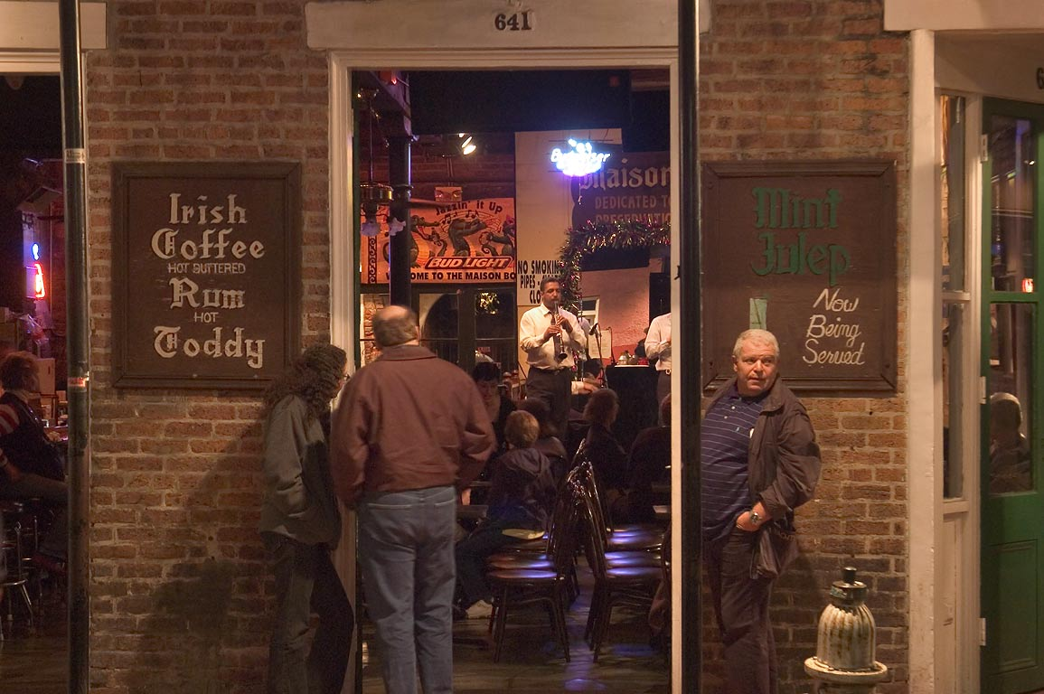 Irish Cofee pub at 641 Bourbon Street at evening. New Orleans, Louisiana