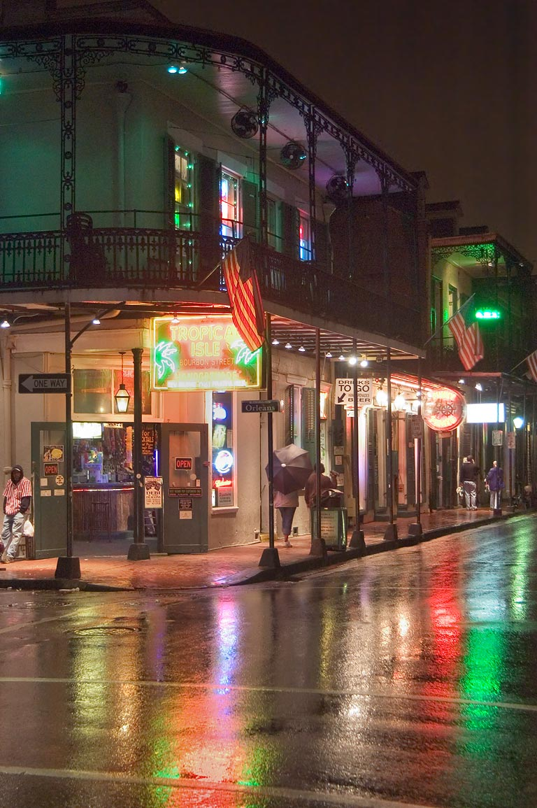 Corner of Bourbon and Orleans streets at rainy evening. New Orleans, Louisiana