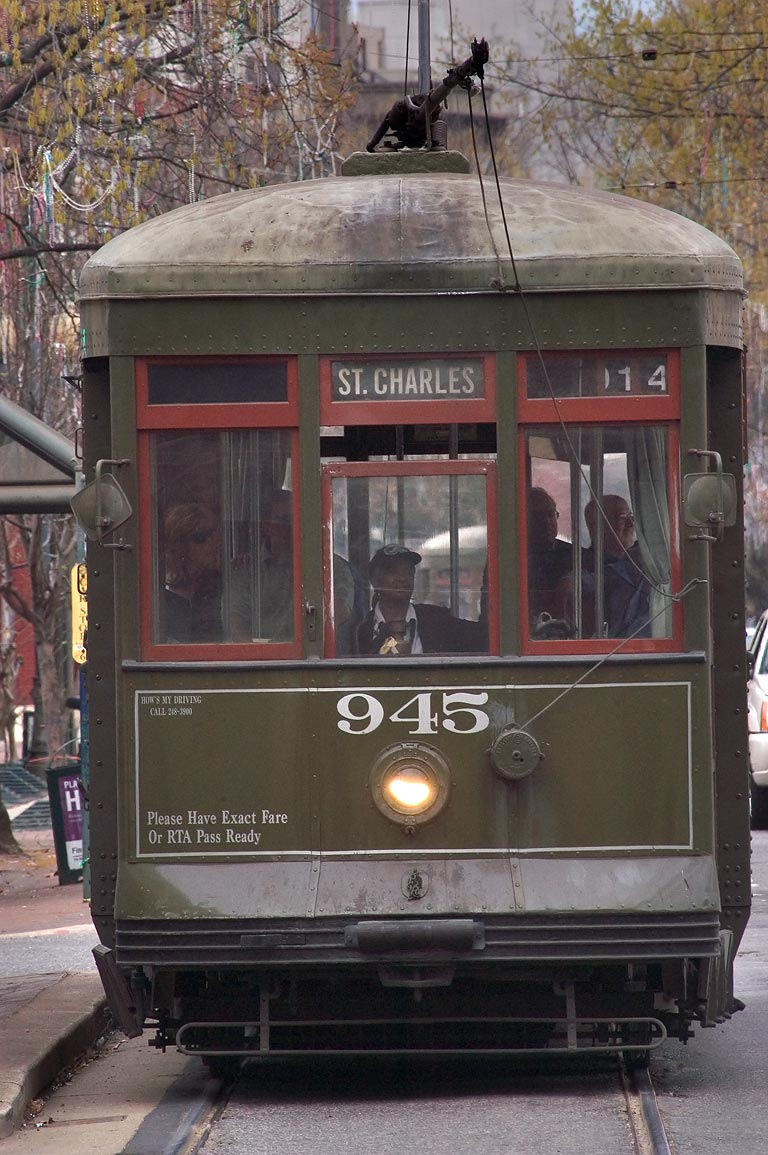 A streetcar on St.Charles Ave., view from Lee Circle. New Orleans, Louisiana